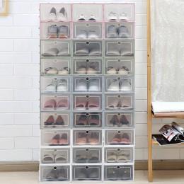 3 sztuk zagęszczony składany buty futerał do przechowywania pudełka do układania w stos organizator przezroczysty z tworzywa szt