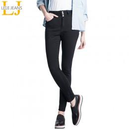 2019 LEIJIJEANS wysokiej talii guzik do dżinsów fly pełna długość Plus rozmiar czarne dżinsy dla kobiet jeansy ze streczem obcis