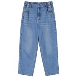 ELFSACK niebieski jednolity, z kieszenią umyte na co dzień proste damskie jeansy 2020 zimowa elastyczna talia koreańska luźna bi