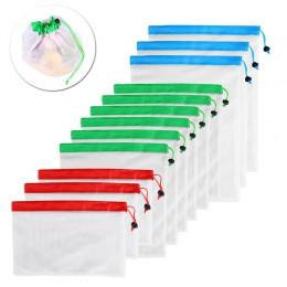 12 szt. 3 rozmiary siatka wielokrotnego użytku produkuje torby zmywalne ekologiczne torby na uchwyt do torby na zakupy owoce war