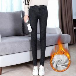 Plus aksamitne wysokiej talii dżinsy damskie ciepłe grube jesienne zimowe dżinsy Femme Casual Vintage spodnie Skinny Stretch Den