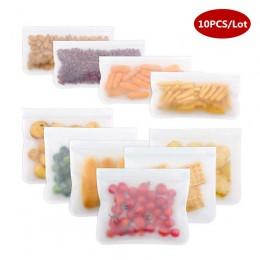 10 sztuk/zestaw schowek silikonowy worek pojemniki do przechowywania żywności wielokrotnego użytku pojemnik silikonowy na żywnos