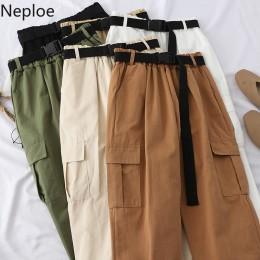 Neploe Harajuku Streetwear Cargo spodnie damskie na co dzień biegaczy spodnie wysokiej talii luźne spodnie damskie koreański Pan