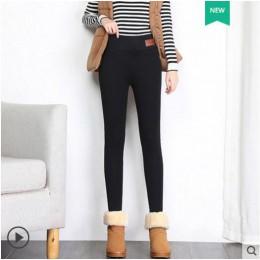 Czarne ciepłe spodnie zimowe obcisłe grube aksamitne dorywczo wełniane spodnie z polaru Lambskin kaszmirowe spodnie dla kobiet l
