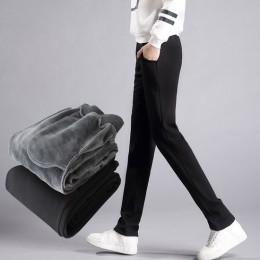 LOMAIYI Plus Size ciepłe spodnie zimowe dla kobiet koreańskie spodnie dresowe damskie spodnie damskie czarny miękki polar spodni