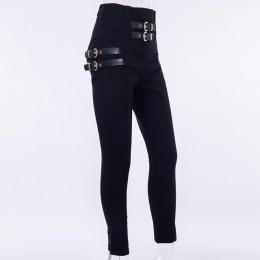 InstaHot wysokiej talii ołówek klamra spodnie kobiety zima jesień szczupła jednokolorowa odzież sportowa eleganckie spodnie biur