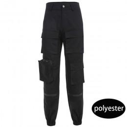 Sweetown czarne spodnie Cargo kobiety moda 2019 kieszenie Patchwork Hippie spodnie z imitacją zamka błyskawicznego tkane wysoka