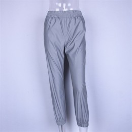 Odblaskowe spodnie Streetwear spodnie Harem dorywczo spodnie Hip Hop spodnie z elastyczną gumką w pasie odblaskowe damskie moda