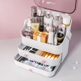 Box makeup organizer na kosmetyki o dużej pojemności z uchwyt pokrywy biżuteria wodoodporna i pyłoszczelna YORO