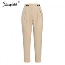 Simplee jednokolorowa na co dzień harem pants damskie spodnie wysokiej talii biurowa, damska marynarka garnitur spodnie luźne ko