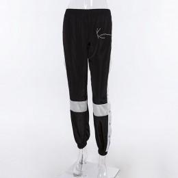 HOUZHOU Joggers spodnie damskie modna, patchworka spodnie dresowe Harem Casual boczne rozcięcie guzikowe spodnie z wysokim stane