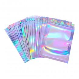 100 sztuk S/M/L płaski zamek błyskawiczny sól do kąpieli kosmetyczka z jednej strony przezroczysty laser holograficzny Mini foli