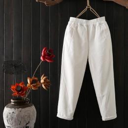 Jesienno-zimowe spodnie sztruksowe damskie Plus rozmiar 3XL w pasie Harem spodnie dorywczo spodnie sztruksowe damskie Pantalon M