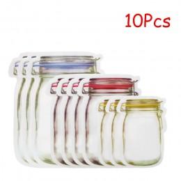 LMETJMA 12 sztuk słój na przetwory torby na zamek błyskawiczny wielokrotnego użytku Snack Saver torba szczelne żywności Sandwich