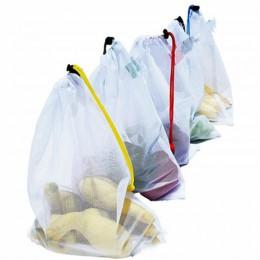 5 sztuk/zestaw Food Grade bezpieczeństwo i ochrona środowiska torby wielokrotnego użytku czarna lina z siatki do przechowywania