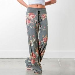 LOSSKY damskie luźne spodnie kwiatowy Print sznurkiem 2019 dorywczo szerokie spodnie nogi długie spodnie dresowe damskie lato Pl