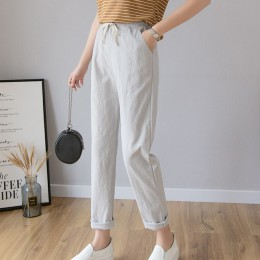 Kobiety Casual Harajuku długie spodnie do kostek 2020 letnia jesień Plus rozmiar jednolita elastyczna talia bawełniane lniane sp