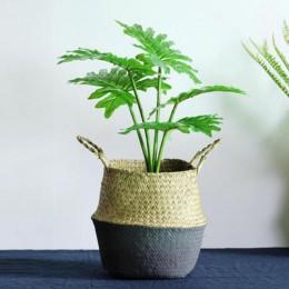 Ręcznie robione bambusowe kosze do przechowywania składana słoma do prania Patchwork wiklina rattanowa trawa morska brzuch donic