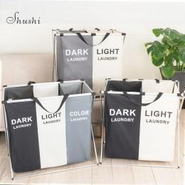 Shushi składany kosz na odzież do prania organizator składany trzy siatki pranie w domu kosz na bieliznę Sorter wodoodporny kosz