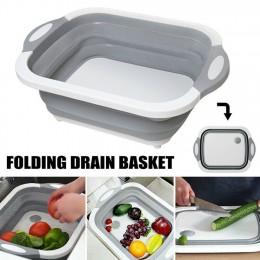 4 w 1 składana deska do krojenia kosz składana wanna do naczyń z korkiem spustowym durszlak owoce warzywa umyć odpływ zlew przec