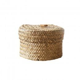 Dekoracje ślubne kosz na przekąski pudełko wykończeniowe pudełko z pokrywką tkany kosz organizacja pulpitu kosze okrągłe pudełka