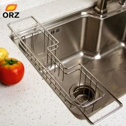 ORZ taca kuchenna ze stali nierdzewnej suszarka do naczyń spinacze do prania uchwyt do zlewu kosz nóż uchwyt na gąbkę naczynie r