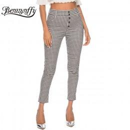 Benuynffy Vintage Button wysokiej talii spodnie w kratę letnie biuro pani spodnie robocze kobiety elegancki boczny zamek błyskaw
