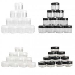 10 sztuk/paczka puste plastikowe jasne kosmetyczne Jar Pot Eyeshadow pojemnik na krem do twarzy Mini Box próbki garnki żel Box 1