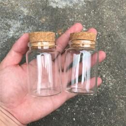 80ml szklane butelki z korkami małe przezroczyste Mini pusty szklany fiolki słoiki pojemnik wyczyść Food Botlles ekologiczne 12