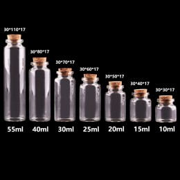 24 sztuk 10ml 15ml 20ml 25ml 30ml śliczne przezroczyste szklane butelki z korek pusty pojemnik na przyprawy słoiki DIY rzemiosło