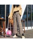 Woherb 2020 jesienne zimowe wełniane spodnie w kratę damskie elastyczny, wysoki stan kostki spodnie Plus rozmiar Harajuku spodni