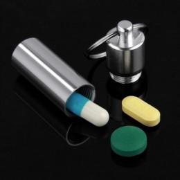 Nowy klucz łańcucha buteleczka na tabletki Box aluminium futerał do przechowywania pojemnik na leki pudełko