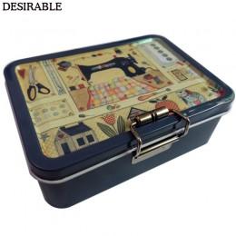 Pożądana przenośna wykwintna metalowa dwuwarstwowa karta do szycia i inne przechowywanie małych przedmiotów pudełko sześć koloró