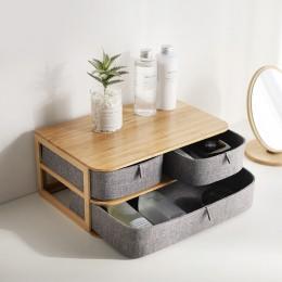 Drewniany schowek Organizer na kosmetyki bambusowy materiał do biura na biurko przechowywanie trumny Organizer na kosmetyki poje