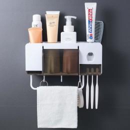 BAISPO uchwyt ścienny odporny na kurz uchwyt na szczoteczki do zębów z kubkami automatyczna pasta do zębów dozownik do wyciskani