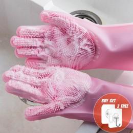 2 sztuk wielofunkcyjne silikonowe rękawice do sprzątania magiczne silikonowe rękawiczki do mycia naczyń dla kuchni gospodarstwa