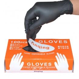 100 sztuk/pudło czarne jednorazowe rękawice nitrylowe bezpudrowe oburęczne do czyszczenia gospodarstwa domowego przemysłowe tatu