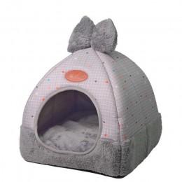 Składane legowisko dla kota samo ocieplenie dla kotów domowych psia buda z odpinanym materacem klatka dla szczeniąt szary różowy