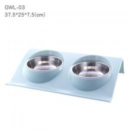 Pet podwójne miski żywności podajnik wody ze stali nierdzewnej kot miska na karmę dla psa szczeniak koty zaopatrzenie dla zwierz