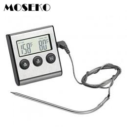 MOSEKO cyfrowy termometr piekarnika do kuchni do jedzenia gotowanie mięso BBQ termometr z sondą z zegarem temperatura wody mleko