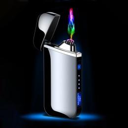 USB zapalniczka elektryczna odcisk palca dotykowy ogień plazma z podwójnym łukiem lżejsze wiatroszczelne metalowe zapalniczki pr