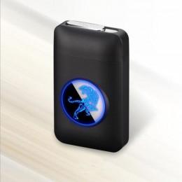 Nowa zapalniczka USB i papierośnica kreatywny wyświetlacz graficzny LED USB ładowanie wiatroodporna bezpłomieniowa zapalniczka e