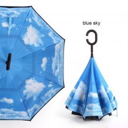 C uchwyt wiatroodporny składany parasol mężczyzna kobiet słońce deszcz odwrócony samochód parasole dwuwarstwowe anty UV samodzie