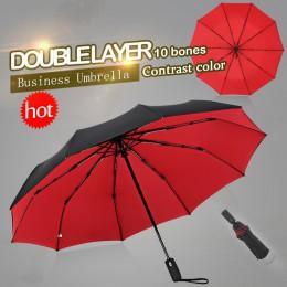 Wiatroszczelny podwójny automatyczny składany Parasol żeński mężczyzna dziesięć kości samochód luksusowy duży biznes parasole mę