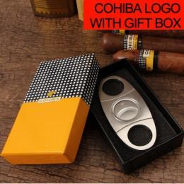 COHIBA Cigar Cutter Brand New stal nierdzewna Metal klasyczny gilotyna gilotyna z pudełko świąteczne nożyczki do cygar prezent
