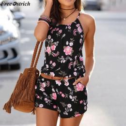 Darmowa strusia damska letnia sukienka Sling krótkie kombinezony jednoczęściowe O-neck moda drukowane plaża Casual Backless komb
