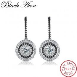 Klasyczne oryginalne 925 Sterling Silver Fine Jewelry Wedding okrągły wkręt kolczyki dla kobiet czarno-białe kobiece kolczyki Bi