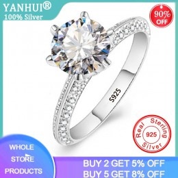 YANHUI luksusowe 2.0ct Lab diamentowe wesele obrączki dla panny młodej 100% prawdziwe 925 srebro pierścionki kobiety biżuterii R