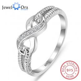 925 srebro pierścienie nieskończoności dla kobiet nieskończony symbol miłości obrączka modna biżuteria na prezent dla matki (Jew