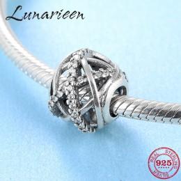 Nowy 925 srebro moda krzyż z dziurką cyrkon okrągły DIY koraliki Fit oryginalny bransoletka typu charm pandora tworzenia biżuter